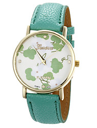 ToMoNo Flower Pattern PU Leather Women Dress Watch(Green)