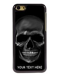 caso de telefone personalizado - crânio caso design de metal preto para iphone 5c