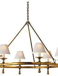 confort visuel E.F. Chapman classique 6 lustre lumière en laiton antique frotté à la main