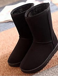 Women's Spring Fall Winter Snow Boots Leatherette Casual Low Heel Black Red Brown Yellow