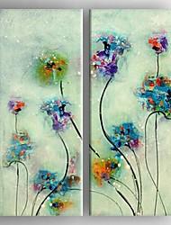 pintura al óleo moderna de la flor abstracta conjunto de lienzos pintados a mano con 2 estirada enmarcada