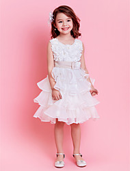 Ball Gown Knee-length Flower Girl Dress - Organza Sleeveless Jewel with Bow(s) / Flower(s) / Pearl Detailing / Sash / Ribbon / Tiers