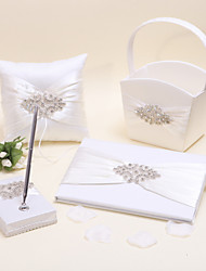 1 Pen Holder , 1 Guest Book ,1 Flower Baskets , 1 Ring Pillow Collection Set Ivory Guest Book / Flower Basket / Pen Set / Ring Pillow