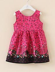 rosa de algodón floral de cumpleaños fiesta encantadora niños ocasional de la muchacha de la ropa de los vestidos