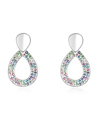 Women's Crystal Pave Circle Drops Platinum-plated Alloy Stud Earrings (More Colors)