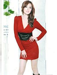 recentemente v collare profondo abito rosso vita