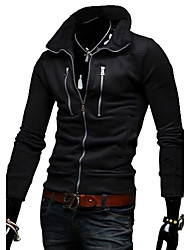 Lesen Men's Stand Collar  Multiple Zipper Decoration Slim Fleece   Long Sleeve Cardigan Hoodie O