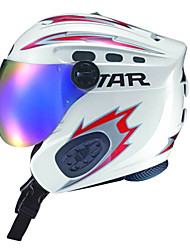 STAR Unisex White & Red ABS Full Face Skiing Helmet with Snow Goggles