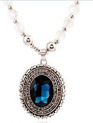 New Style Hot Europe And America Long Chain Blue Crystal Black Bead Lady's Fashion Sweater Necklace NC04