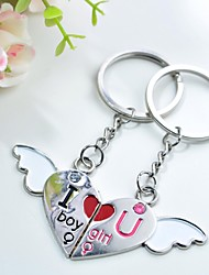 Personalized Engraving Love Angel Metal Couple Keychain
