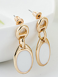 Earring Drop Earrings Jewelry Women Gemstone & Crystal / Gold 2pcs Black / White
