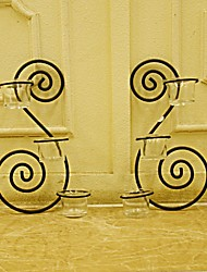 E-HOME® Metal Wall Art Wall Decor,The Double Candlestick  Wall Decor Set Of 2