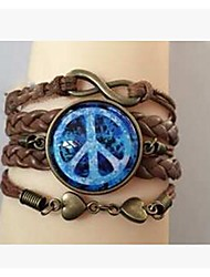 Bracelet/Wrap Bracelets Alloy / Leather / Glass Inspirational Daily / Casual / Sports Jewelry Gift Brown
