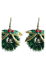 Lureme Fashion Baking Varnish Bowknot Christmas Ring Alloy Drop Earrings