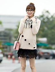 suéter de cuello redondo de manga larga de punto flojo del suéter de las mujeres