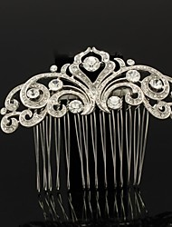 Flor de la joyería del peine del pelo de 8 cm con diamantes de imitación claro para la boda del baile nupcial de las mujeres