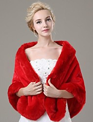 Fur Wraps / Wedding  Wraps Shawls Sleeveless Faux Fur White / Ruby Wedding Feathers / fur