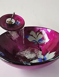 fleur ronde trempé évier récipient en verre avec robinet cascade, pop - up vidange et bague de montage