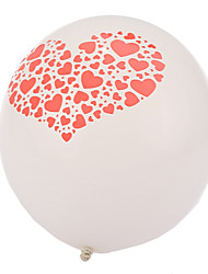 Extra Large Size White Thick Heart Broken Round Balloons--Set of 24