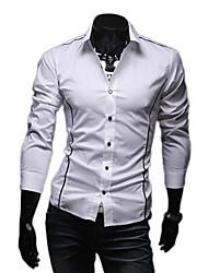 Fengshang Herren Bodycon Lässige Long Sleeve Revers Neck White Shirt