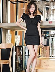 recentemente de forma magro rendas cortina elegante vestido preto