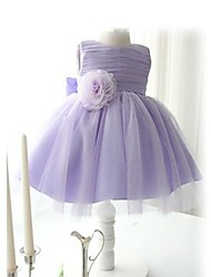 cinto bowknot cor pura festa líquido saia / vestido da menina
