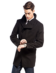 Hidden Placket Solid Outwear In Wool-cashmere&Polyester