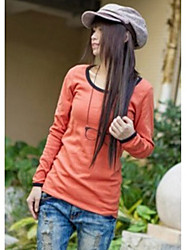Korea Style Round Neck Long Sleeve T-shirt Watermelon Red
