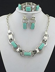 Toonykelly Vintage Antique Silver Turquoise Stone(Necklace and Earring and Bracelet) Jewelry Set