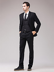 Black Serge Slim Fit Three-Piece Suit