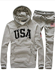 Men's Sports Casual Long Sleeve USA Style Fleece Hoodie Suits