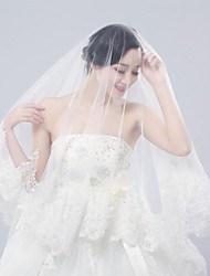 2015 New Year New Style Graceful Bridal Veils Ivory Lace Appliques 3 Meters Tulle Material