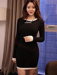 Frauen schwarzer Baumwolle Strickkleid