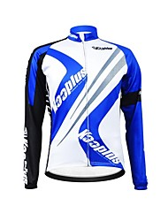 KOOPLUS Unisex Winter Cycling Clothing Long Sleeve Thermal Fleece Cycling Jersey--Blue+White