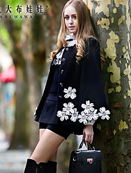 Pink Doll® Women's Embroidery Tweed Elegant OL Cloak Coat