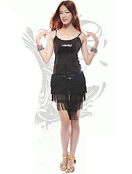 Dancer Shower Tassel Paillette Sexy Low-cut Slip Latin Dress Women's Costume