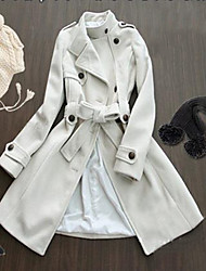 Button Design Fashion Collar Long Coat