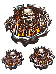 Cool Motorcycle Decoration Sticker Decals-Three-Dimensional Printing Flame Skeleton