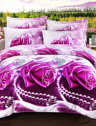3D Duvet Cover Sets 4 Piece Polyester 3D Reactive Print Polyester Full 4pcs (1 Duvet Cover 1 Flat Sheet 2 Shams)
