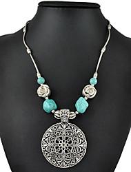 moda vintage prata banhado a escavar carving flor colar turquesa