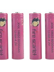 brand scharlaken 6000mAh 18650 oplaadbare lithium-ion batterij (4 stuks)
