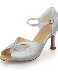 Non Customizable Women's Dance Shoes Latin Satin/Sparkling Glitter Flared Heel Silver/Gold
