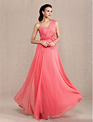 Formal Evening / Prom / Military Ball Dress - Watermelon Plus Sizes / Petite Sheath/Column One Shoulder Ankle-length Chiffon