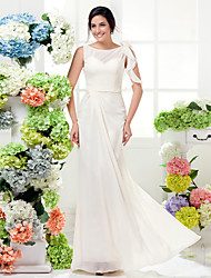 LAN TING BRIDE Floor-length Chiffon Bridesmaid Dress - Sheath / Column Bateau Plus Size / Petite