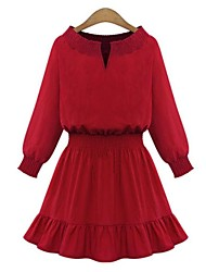 Women's Red/Purple Dress , Casual Long Sleeve