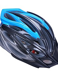высокой воздухопроницаемостью PC + EPS черный велосипедный шлем со съемным солнцезащитный козырек (24 отверстия) - черный + синий