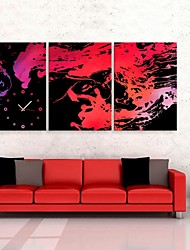 E-HOME® Abstract Painting Clock in Canvas 3pcs