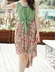 Graceful Metal Embellished Flower Pattern Splicing Irregular Chiffon Dress Green