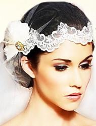 One-tier Fingertip Veils Wedding Veils with Lace Applique Edge & Diamond Plumge White Color Veils