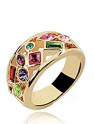 ZGTS Women's Exaggerated 18K Gold Plated Austrian Crystal Ring